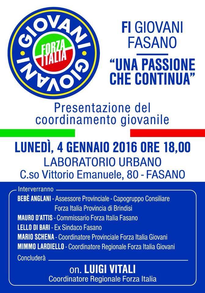 Anche fasano avr il coordinamento giovanile di forza italia for Deputati di forza italia