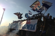 Gli ultras biancazzurri a Margherita di Savoia (foto Vincenzo Lagalante)